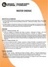 Plaquette de présentation du Master Énergie