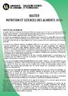 Plaquette Master Nutrition et Sciences des Aliments